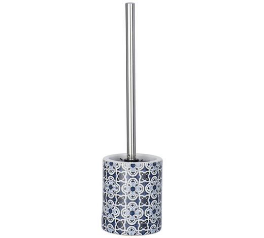 WC-BÜRSTENGARNITUR in Metall - Blau/Chromfarben, Basics, Keramik/Kunststoff (10/39cm)