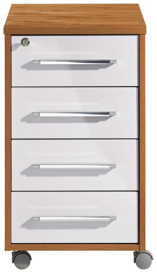 ANSTELLCONTAINER Buchefarben, Weiß - Buchefarben/Silberfarben, Design, Kunststoff/Metall (43/75/80cm)