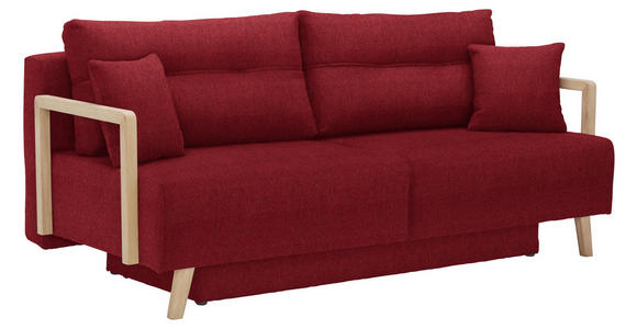 SCHLAFSOFA in Textil Rot  - Rot/Naturfarben, KONVENTIONELL, Holz/Textil (200/92/95cm) - Venda