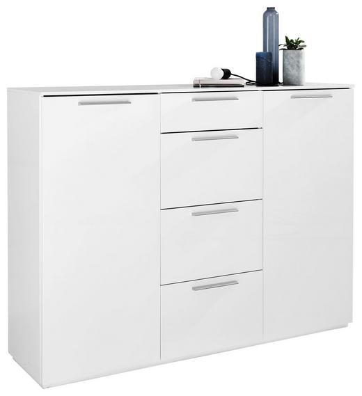 SIDEBOARD Hochglanz Weiß - Alufarben/Weiß, Design, Holzwerkstoff/Metall (149,2/111,5/40,8cm) - Carryhome