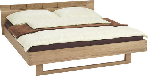 BETT Eiche massiv 180/200 cm - Eichefarben, Design, Holz (180/200cm) - Voglauer