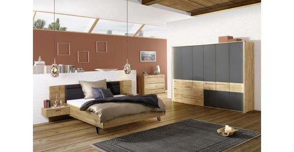 DREHTÜRENSCHRANK in Anthrazit, Eichefarben  - Eichefarben/Anthrazit, Design, Glas/Holz (309/216/60cm) - Valnatura