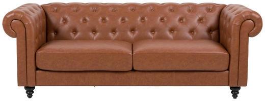 Chesterfield Sofa Lederlook Hellbraun - Hellbraun/Schwarz, Basics, Holz/Textil (219/88/78cm) - Carryhome