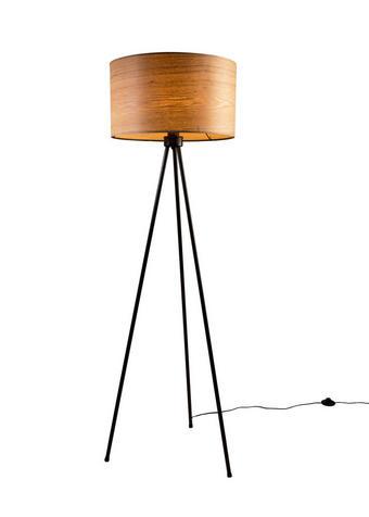 STEHLEUCHTE - Eschefarben/Schwarz, Design, Holz/Metall (50/150cm)