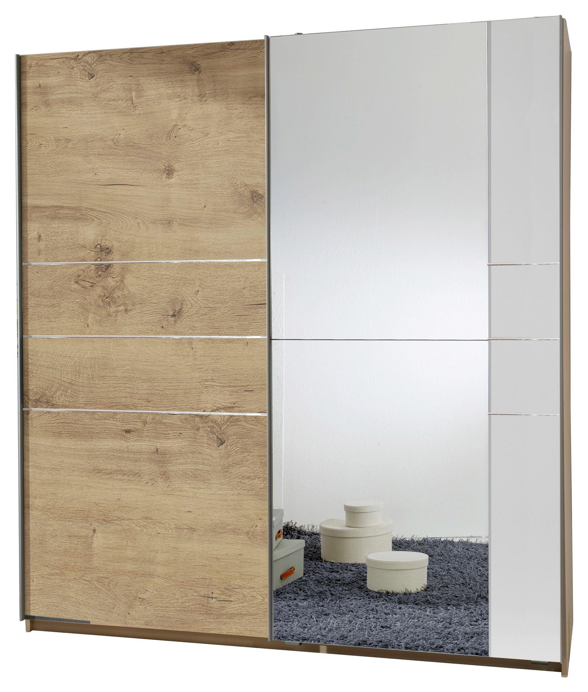 SCHWEBETÜRENSCHRANK 2  -türig Eichefarben, Weiß - Eichefarben/Alufarben, MODERN, Holzwerkstoff/Metall (180/198/64cm) - CARRYHOME