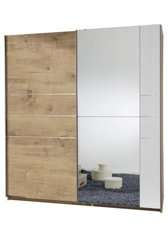 SCHWEBETÜRENSCHRANK 2-türig Braun, Weiß, Eichefarben - Eichefarben/Alufarben, MODERN, Holzwerkstoff/Metall (180/198/64cm) - Carryhome