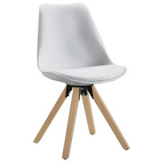 STUHL Lederlook Eiche massiv Weiß, Eichefarben  - Eichefarben/Weiß, Design, Holz/Kunststoff (48/82/56cm) - Carryhome