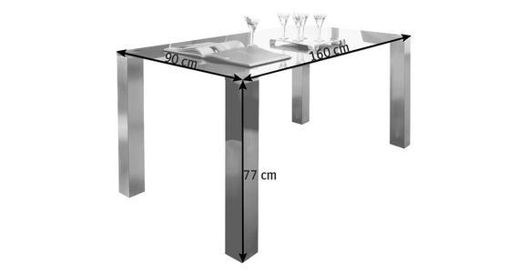 ESSTISCH in Metall, Glas 160/90/77 cm   - Edelstahlfarben/Grau, Design, Glas/Metall (160/90/77cm) - Dieter Knoll