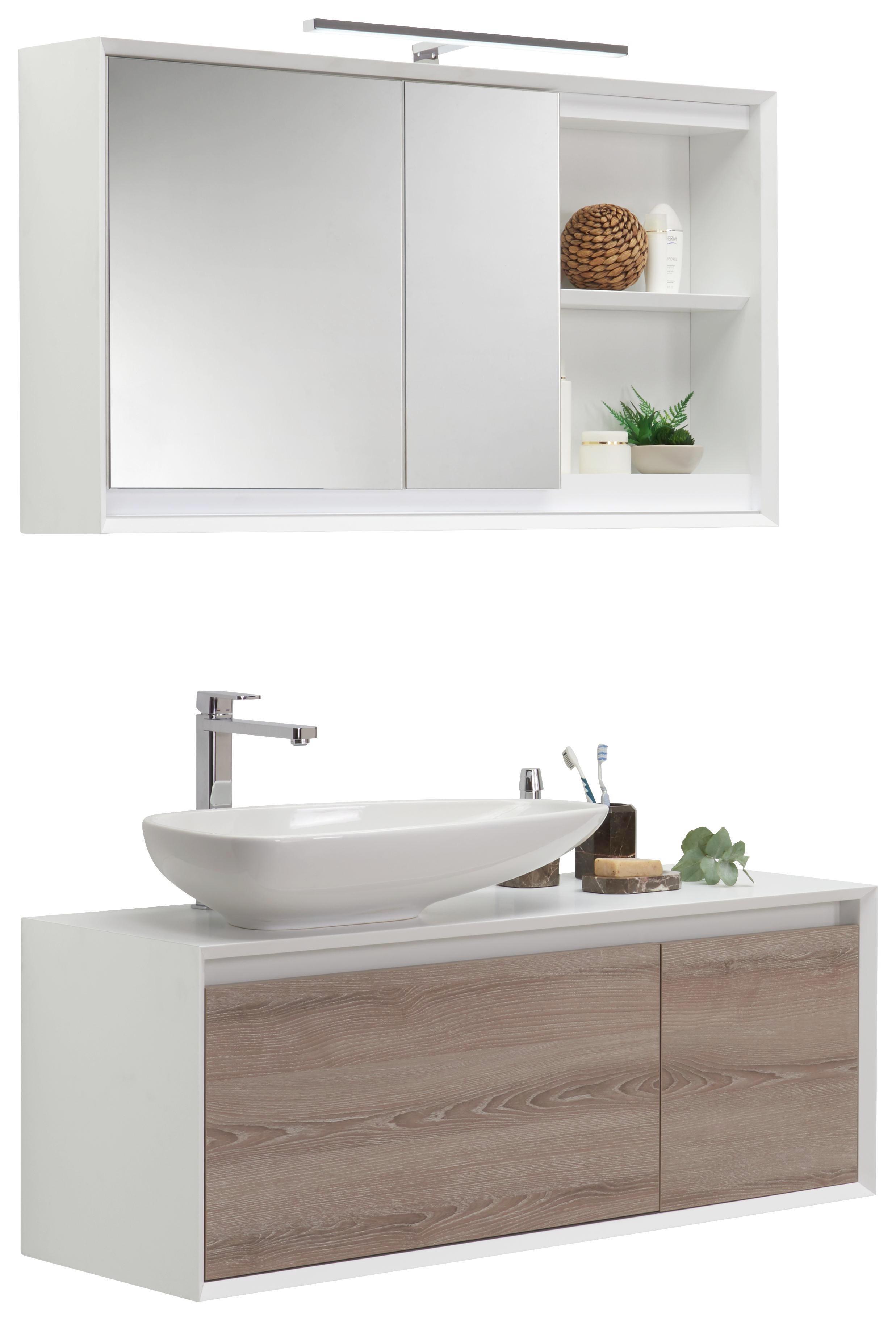 BADEZIMMER Grau, Weiß   Weiß/Grau, Basics, Glas/Keramik (109cm