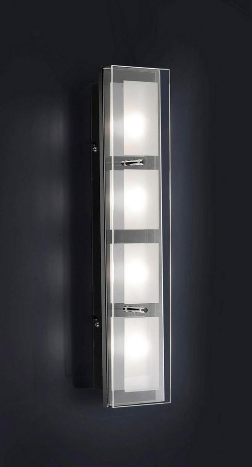 LED-WANDLEUCHTE - Chromfarben/Weiß, Design, Glas/Metall (48/10/7,6cm) - Novel
