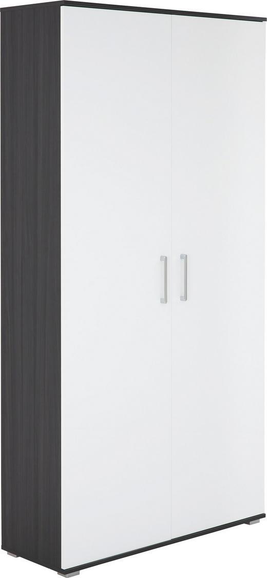 SCHUHSCHRANK Eschefarben, Weiß - Eschefarben/Silberfarben, Basics, Metall (100/197/37cm)