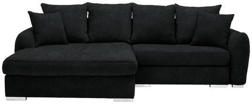 WOHNLANDSCHAFT in Textil Schwarz - Chromfarben/Schwarz, Design, Kunststoff/Textil (195/275cm) - Carryhome
