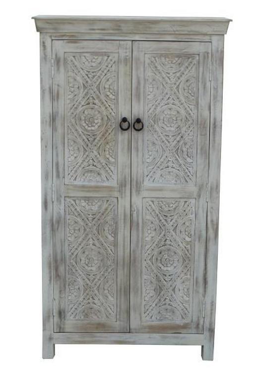 SCHRANK Mangoholz massiv antik, lackiert Weiß - Schwarz/Weiß, Trend, Holz/Holzwerkstoff (80/145/40cm) - Ambia Home