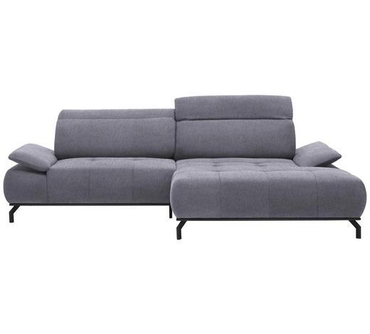 WOHNLANDSCHAFT in Textil Hellgrau  - Hellgrau/Schwarz, Design, Textil/Metall (270/175cm) - Carryhome