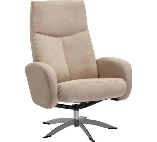 RELAXSESSEL in Textil Beige - Chromfarben/Beige, Design, Textil/Metall (71/104/72cm) - Welnova