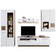 OBÝVACÍ STĚNA, bílá, barvy dubu - bílá/barvy dubu, Konvenční, kompozitní dřevo/umělá hmota (300/202/46cm) - Hom`in