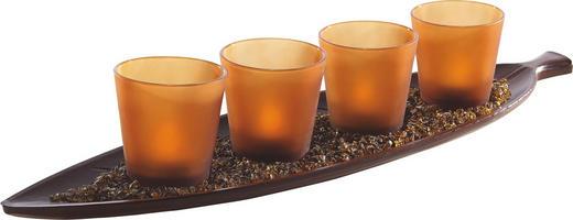 TEELICHTHALTER-SET 5-teilig - Braun/Orange, Basics, Glas/Holz (52/13/2cm) - Ambia Home