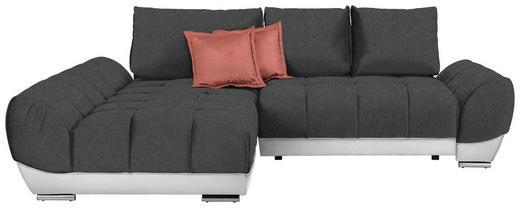 WOHNLANDSCHAFT in Textil Dunkelgrau, Rosa, Weiß - Dunkelgrau/Rosa, MODERN, Textil/Metall (192/290/cm) - Carryhome