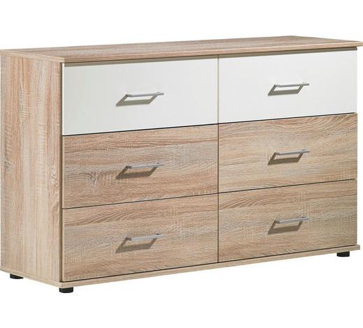 KOMMODE 130/82/42 cm - Eichefarben/Silberfarben, Design, Holzwerkstoff/Kunststoff (130/82/42cm) - Carryhome