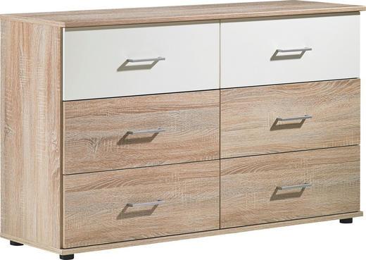 KOMMODE Eichefarben, Weiß - Eichefarben/Silberfarben, Design, Kunststoff (130/82/42cm) - Carryhome