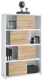 AKTENREGAL Eichefarben, Weiß - Eichefarben/Weiß, Design, Holzwerkstoff/Kunststoff (116,6/178,6/37cm) - Stylife