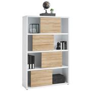 PISARNIŠKI REGAL  bela, hrast - siva/bela, Design, umetna masa/leseni material (116,6/178,6/37cm) - STYLIFE