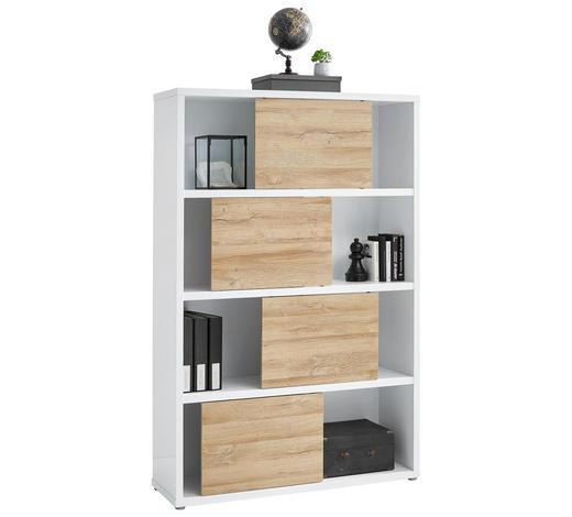 PISARNIŠKI REGAL 116,6/178,6/37 cm bela, hrast  - siva/bela, Design, umetna masa/leseni material (116,6/178,6/37cm) - Stylife