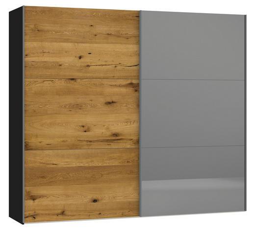 SCHWEBETÜRENSCHRANK in Schwarz, Eichefarben  - Eichefarben/Silberfarben, Design, Glas/Holz (252,8/220/65cm) - Jutzler