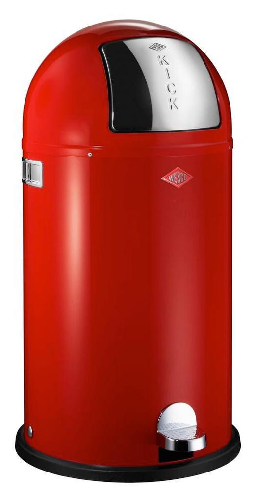 ABFALLSAMMLER KICKBOY 40 L - Edelstahlfarben/Rot, Kunststoff/Metall (40/75,5cm) - Wesco