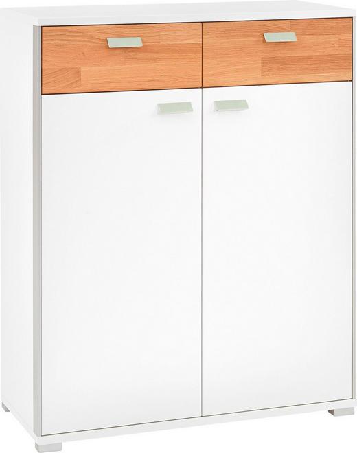 SCHUHSCHRANK Eiche massiv gebürstet, lackiert, matt Eichefarben, Weiß - Chromfarben/Eichefarben, Design, Holz/Metall (84/103/37cm)