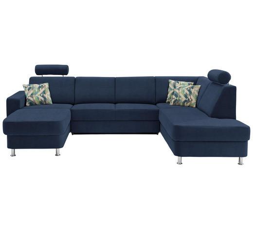 WOHNLANDSCHAFT in Textil Blau - Chromfarben/Blau, Design, Kunststoff/Textil (165/301/198cm) - Xora