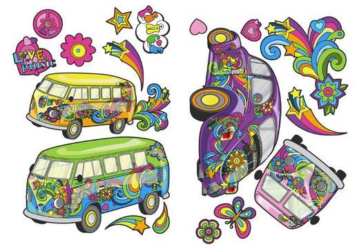 Fahrzeuge DEKOSTICKER - Multicolor, KONVENTIONELL, Kunststoff (25/35/0,10cm)