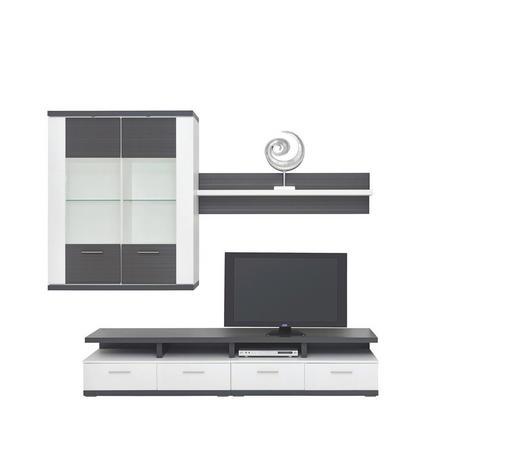 WOHNWAND in Graphitfarben, Weiß - Silberfarben/Graphitfarben, Design, Glas/Holzwerkstoff (237,5/206/50cm) - Xora