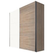 SKŘÍŇ S POSUVNÝMI DVEŘMI, bílá, barvy dubu - bílá/barvy dubu, Design, kov/kompozitní dřevo (200/216/68cm) - Hom`in
