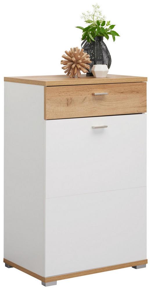 SCHUHSCHRANK - Eichefarben/Weiß, Design, Holzwerkstoff/Metall (58/95/40cm) - Carryhome