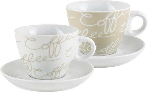 CAPPUCCINOTASSE MIT UNTERTASSE - Creme/Weiß, Basics, Keramik (0.180l) - Ritzenhoff Breker