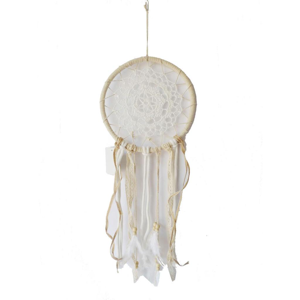 Image of Ambia Home Traumfänger , C19023 , weiss, Beige , Textil , Ornament , 50 cm , Webstoff , zum Hängen, handgemacht , 0037840023
