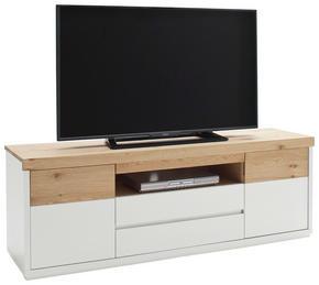 MEDIABÄNK - vit/ekfärgad, Design, trä/träbaserade material (157/54/40cm) - Novel