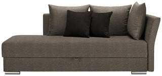 LIEGE in Textil Dunkelbraun, Hellbraun - Chromfarben/Hellbraun, Design, Kunststoff/Textil (220/93/100cm) - Xora