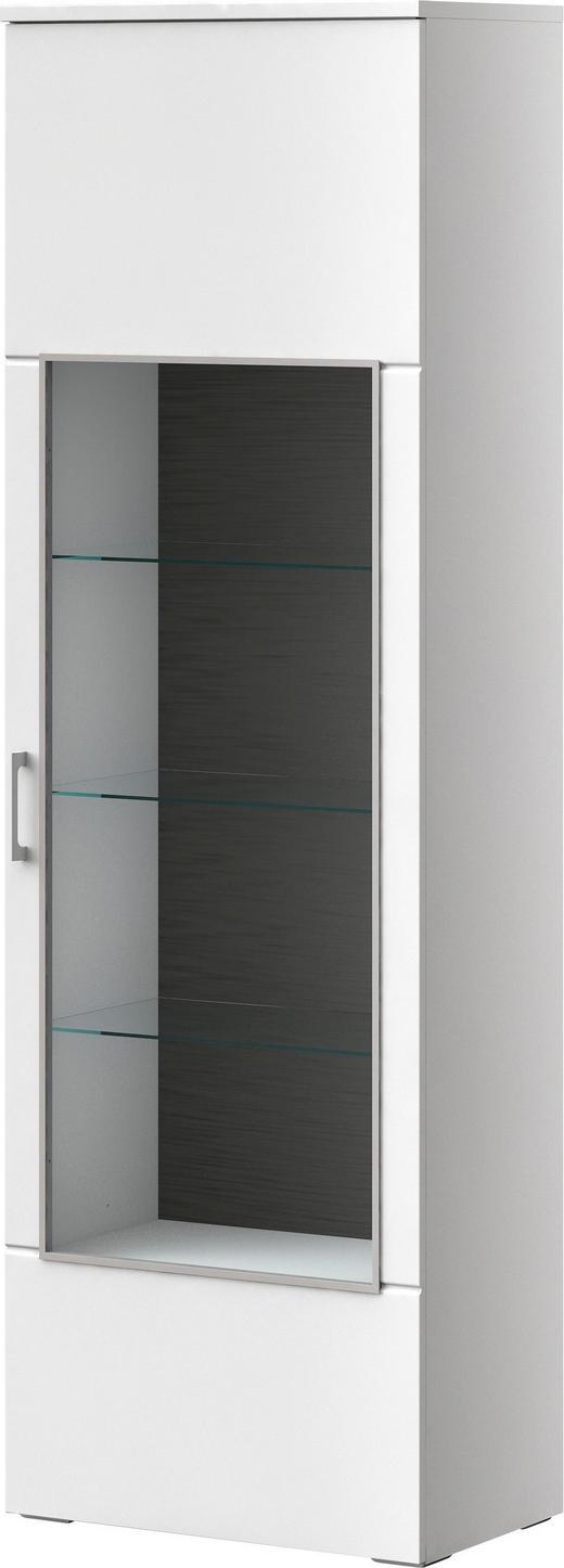 VITRINE Graphitfarben, Weiß - Chromfarben/Graphitfarben, MODERN, Glas/Kunststoff (65/205,4/40cm) - XORA