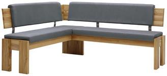 ECKBANK Lederlook Eiche massiv Grau, Eichefarben  - Eichefarben/Grau, KONVENTIONELL, Holz/Textil (167/192cm) - Voleo