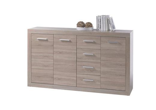 KOMMODE Sonoma Eiche - Silberfarben/Alufarben, Design, Holz/Kunststoff (152/89/37cm) - BOXXX