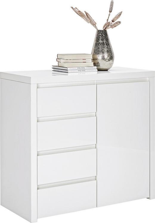 KOMMODE Weiß - Alufarben/Weiß, Design, Holzwerkstoff/Kunststoff (102/94/45cm) - Voleo
