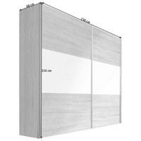 SCHWEBETÜRENSCHRANK in Eichefarben - Eichefarben/Alufarben, Design, Glas/Holzwerkstoff (150 216 68cm) - Hom`in