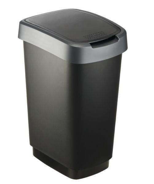 KOŠ ZA OTPAD - tamno siva/crna, Konvencionalno, plastika (33,3/25,2/47,6cm) - Homeware
