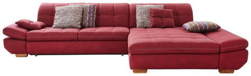 WOHNLANDSCHAFT in Textil Rot, Bordeaux  - Eichefarben/Bordeaux, Natur, Holz/Textil (341/204cm) - Xora