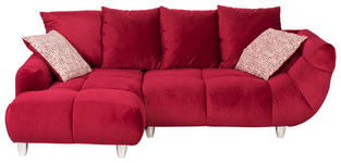 WOHNLANDSCHAFT in Textil Dunkelrot - Chromfarben/Rot, Design, Kunststoff/Textil (182/247cm) - Hom`in