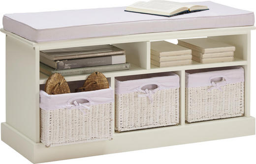 SITZBANK Webstoff Pappel teilmassiv Weiß - Weiß, LIFESTYLE, Holz/Kunststoff (95/44/35cm) - Landscape