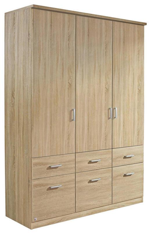 KLEIDERSCHRANK 3  -türig Sonoma Eiche - Silberfarben/Sonoma Eiche, Basics, Holzwerkstoff/Kunststoff (136/197/54cm) - CARRYHOME