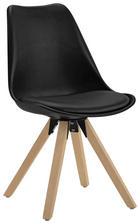 STOL, kovina, les, tekstil, umetna masa črna, hrast - črna/hrast, Design, kovina/umetna masa (48/82/56cm) - Carryhome